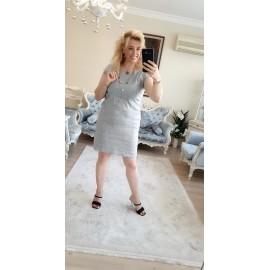 Gri Keten Elbise