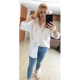 Beyaz Taş Detaylı Gömlek