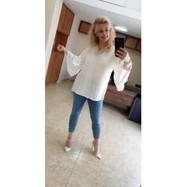 Beyaz Krep Bluz