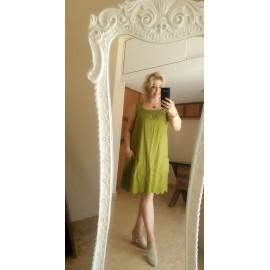 Fıstık Yeşili Keten Elbise